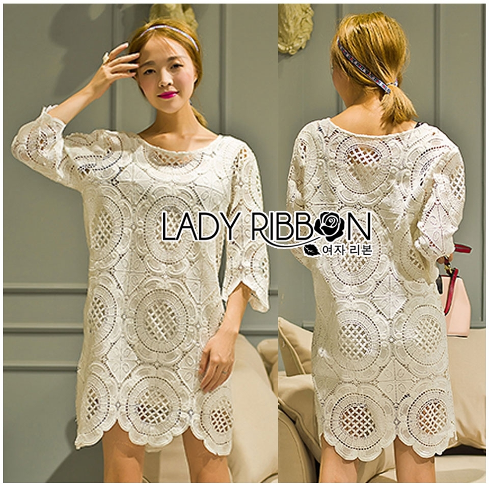 Lady Jen Feminine Laser-Cut and Embroidered Lace Dress in White L201-75C04