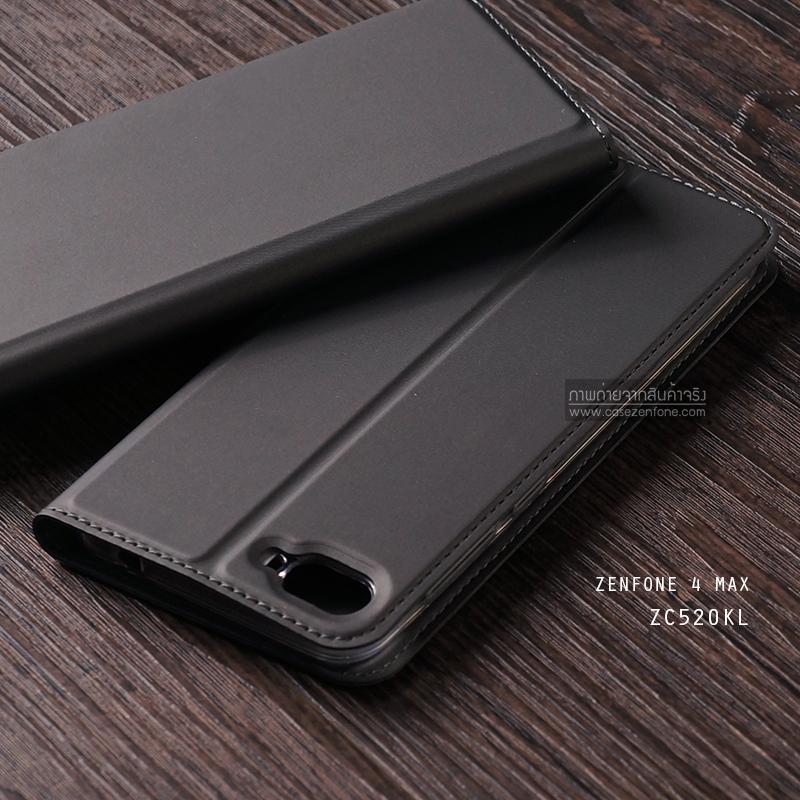 """เคส Zenfone 4 Max 5.2"""" (ZC520KL) เคสฝาพับเกรดพรีเมี่ยม (เย็บขอบ) พับเป็นขาตั้งได้ สีเทา"""