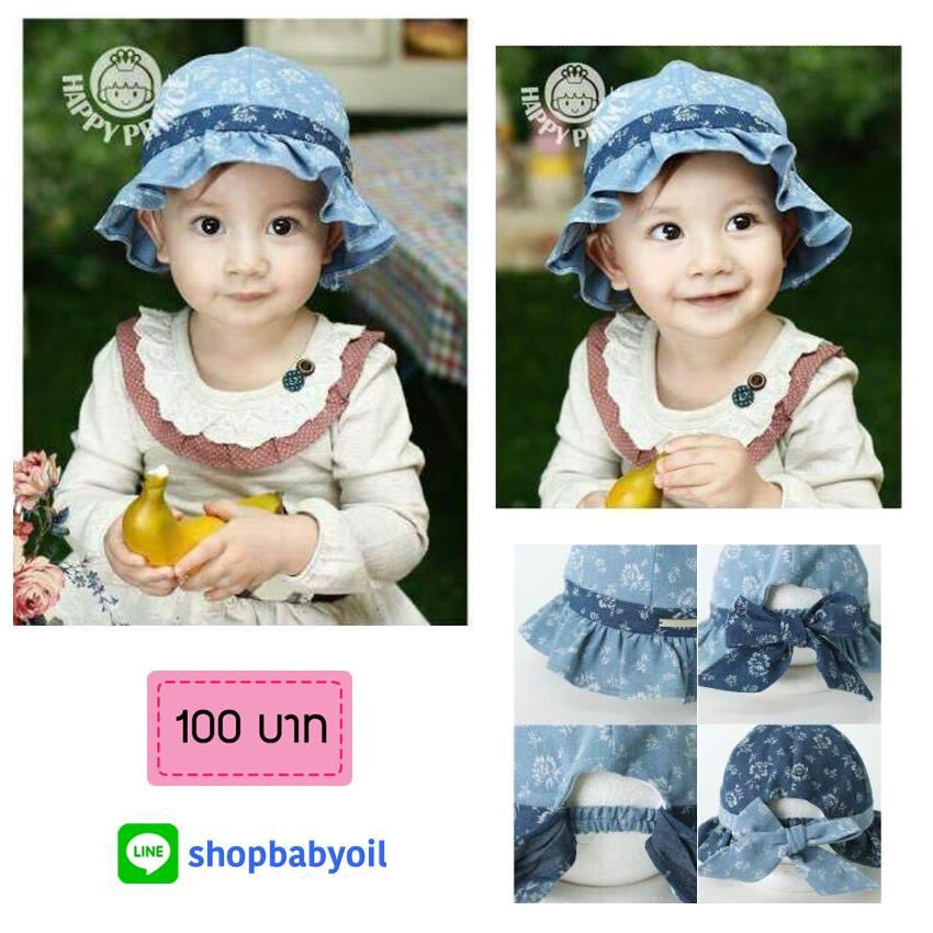 HT167••หมวกเด็ก•• / หมวกถังยีนส์ดอกกุหลาบ (มี 2 สี)