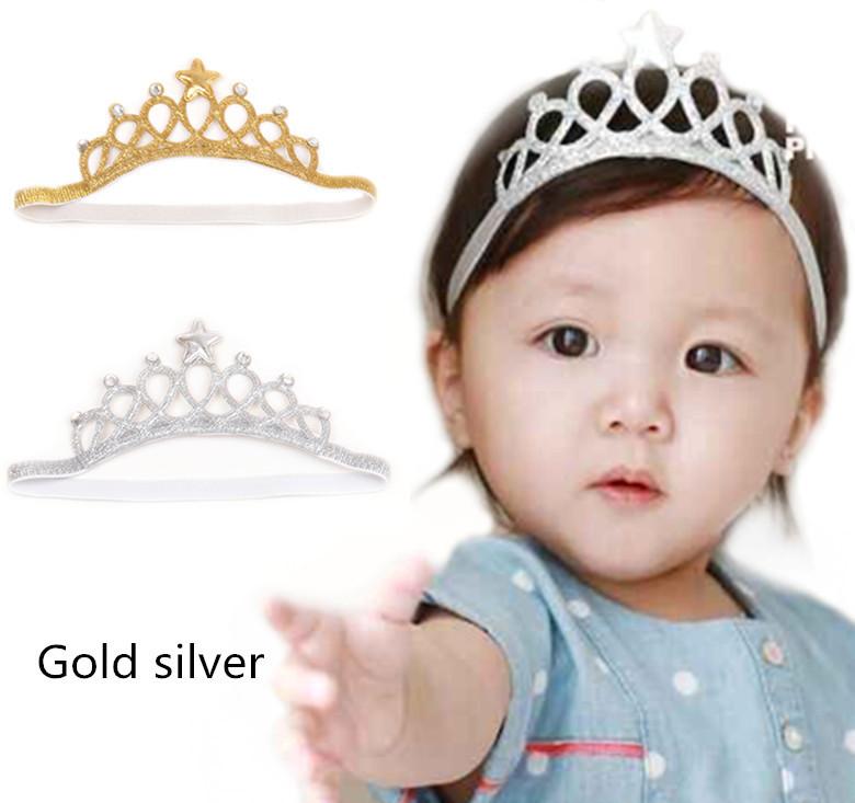 มงกุฎเจ้าหญิงเด็กเล็กคาดผม สีทอง/เงิน
