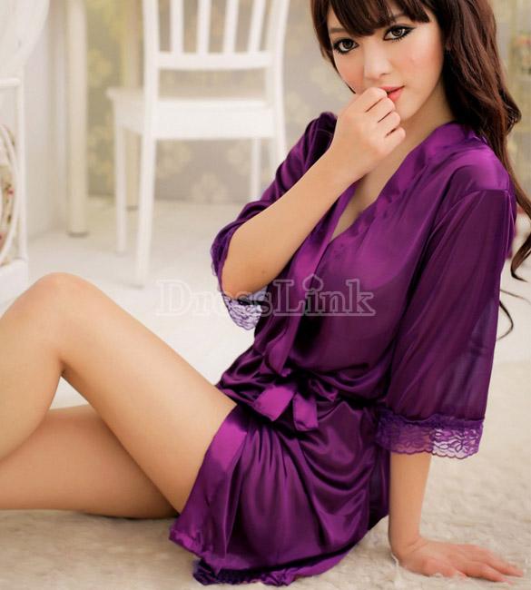 ชุดนอนเซ็กซี่ที่มีเสน่ห์ Nightgown Set ชุดเสื้อคลุมอาบน้ำ + G-String 2 สี สีชมพูและสีม่วง