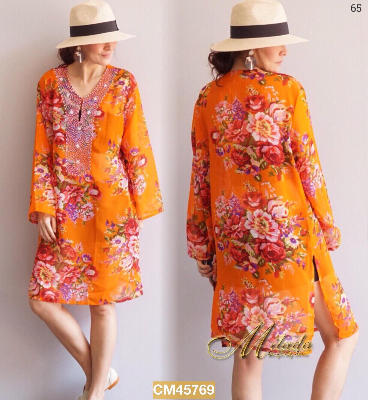 """CM769 *สีส้ม* รอบอก44"""" Dress คอวี แขนยาว เนื้อผ้า Chiffon พิมพ์ลาย"""