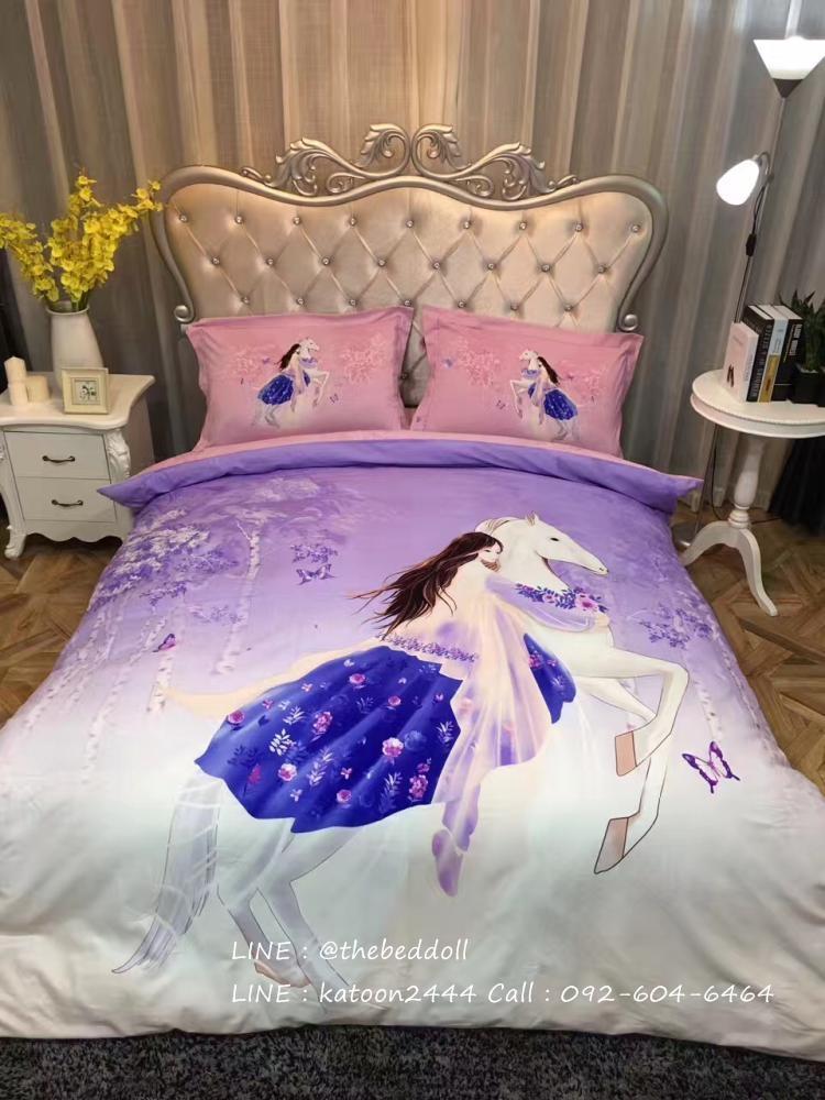 ผ้าปูที่นอนลายการ์ตูน ผู้หญิงขี่ม้า สีม่วง-ชมพู