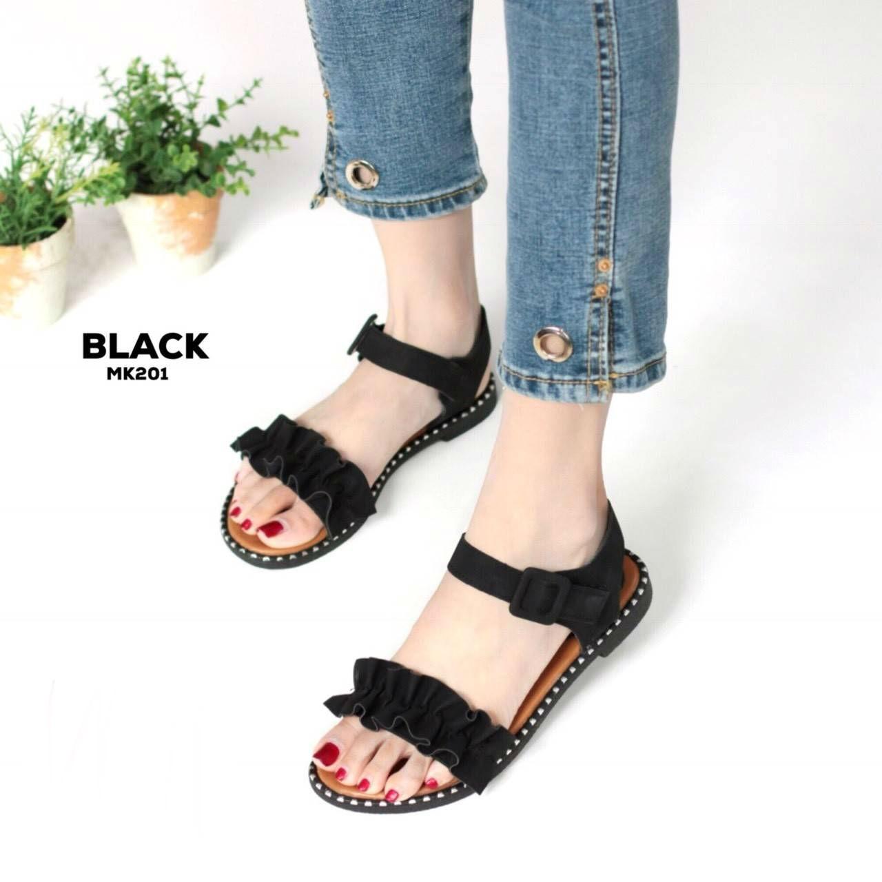 รองเท้าแตะแฟชั่น แบบสวม รัดส้น แต่งระบายสวยหวานน่ารักสไตล์เกาหลี หนังนิ่ม ทรงสวย ใส่สบาย แมทสวยได้ทุกชุด (MK201)