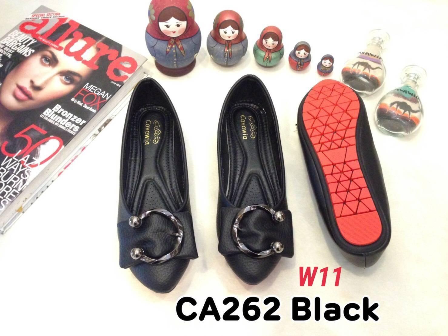 รองเท้าคัทชุ ส้นแบน แต่งอะไหล่เข็มขัดสวยเก๋ หนังนิ่ม ทรงสวย ใส่สบาย แมทสวยได้ทุกชุด (CA262)