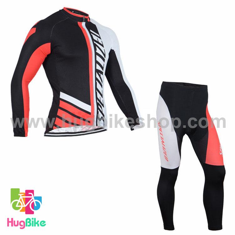 ชุดจักรยานแขนยาวทีม Specialized 16 (04) สีดำขาวแดง