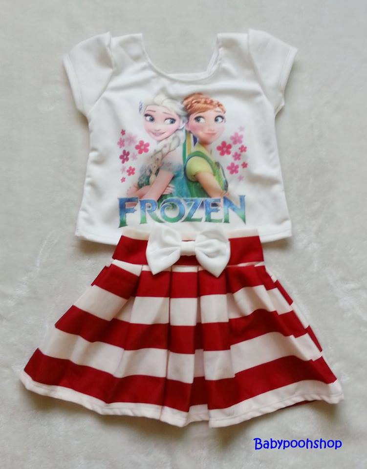 Ploy : Set เสื้อพิมพ์ลาย เจ้าหญิง Anna&Elsa+กระโปรงลายขวางสีแดง Size : XL (7-8y)