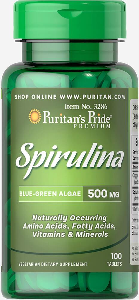 สาหร่ายสไปรูลิน่า Puritan's Pride Spirulina 500mg / 100 tab