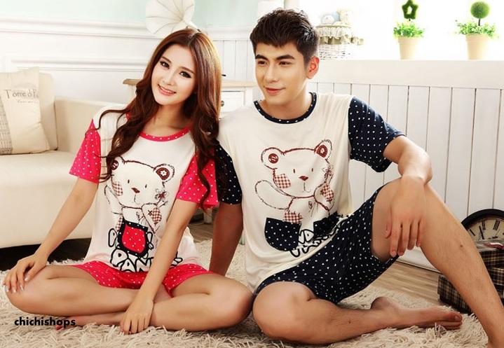 ุ่ชุดนอนคู่รักขาสั้นลายหมี