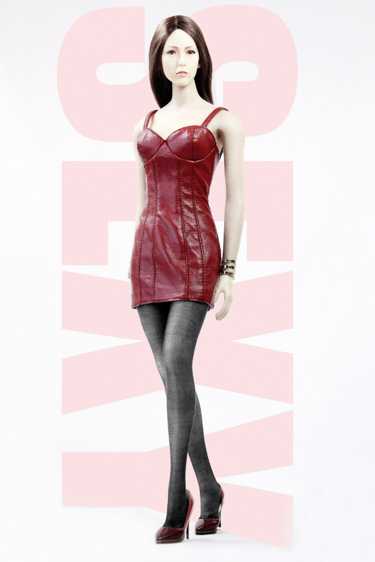 POPTOYS F17-B RED (Haute couture version) Ladies Sexy Leather Skirt Dress Suit