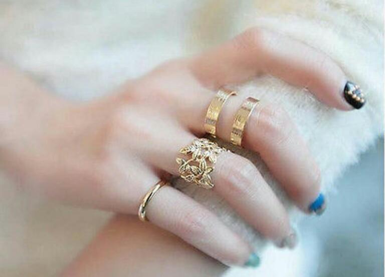 R-15.เซทแหวน 3 ชิ้น สีเงิน/ทอง