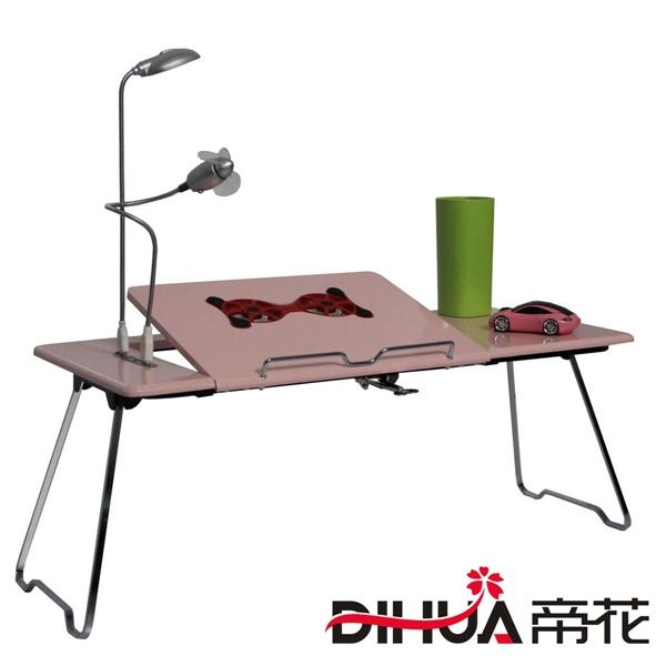 Pre-order ชุดโต๊ะคอมพิวเตอร์ โต๊ะแล็ปท้อปสีชมพู แบบมีพัดลมระบายอากาศ มีช่อง USB และโคมไฟ LED ส่องสว่าง