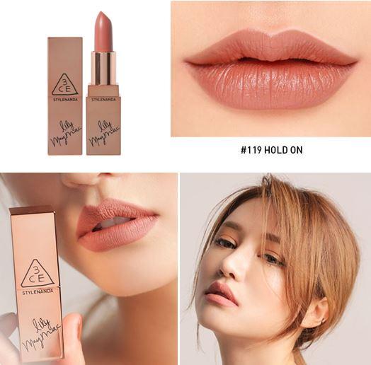*พร้อมส่ง*3ce X Lily Maymac Matte Lip Color #119 Hold On สีชมพูนู้ด ลิปเนื้อแมท สีสวยมาในคอนเซปต้อนรับลมหนาว สีสันสวยงาม ออกแนวอินดี้ เนื้อแน่นติดทน สามารถใช้ได้กับทุกโทนสีผิวเลย ,