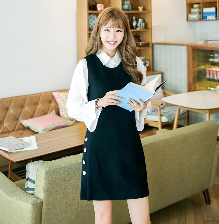 ชุดเดรสสั้น เสื้อสีดำ แขนยาว รหัสสินค้า 8-8940-ดำ