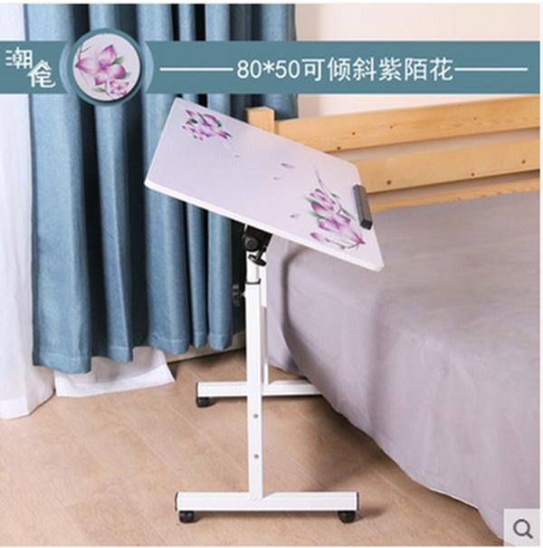 Pre-order โต๊ะทำงานปรับระดับ โต๊ะวางคอมพิวเตอร์ โต๊ะวางแล็ปท้อป แบบปรับได้ทั้งความสูงและองศามุมมอง สีขาวพิมพ์ลายดอกไม้
