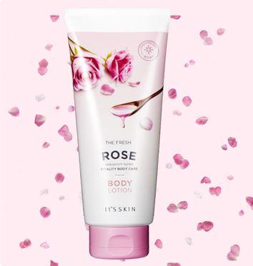 **พร้อมส่ง**It's Skin The Fresh Body Lotion #Rose 250ml. โลชั่นทาผิวกายให้ผิวกายเนียนนุ่มชุ่มชื้น มีส่วนผสมของดอกกุหลาบกลิ่นหอมมาก บำรุงผิวจากน้ำมันดอกกุหลาบ หอมกลิ่นดอกกุหลาบอ่อนๆ ที่ให้ความรู้สึกสดชื่น เหมือนอยู่ในสปา ช่วยเร่งการสร้างเซลล์ผิวใหม่ ท