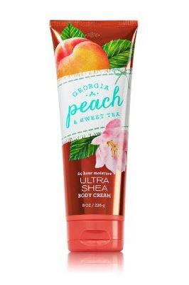 **พร้อมส่ง**Bath & Body Works Georgia Peach & Sweet Tea 24 Hour Moisture Ultra Shea Body Cream 226g. ครีมบำรุงผิวสุดเข้มข้น มีกลิ่นหอมติดทนนาน ด้วยกลิ่นหอมหวานของลูกพีช ผสมกลิ่นใบชา หอมหวานไม่ซ้ำใครคะ ,