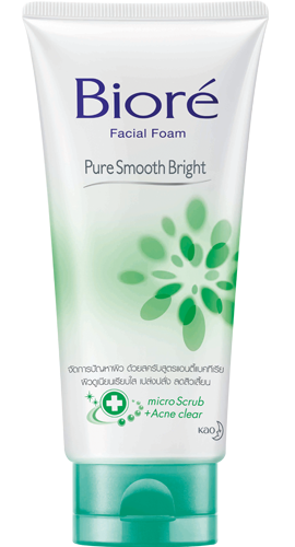 Biore Facial Foam Pure Smooth Bright บิโอเร เฟเซี่ยล โฟม เพียว สมูท ไบรท์