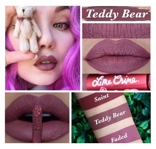 **พร้อมส่ง**Lime Crime Velvetines Liquid Matte Lipstick สี Teddy Bear สีใหม่ สีม่วงอมน้ำตาล ลิปสติกเนื้อลิควิด ที่ทาออกมาจะเป็นโทนสีด้านๆ สวยมากๆ ติดทนทั้งวัน สามารถเบลนสีบนริมฝีปากได้อย่างเรียบเนียน ทำให้ริมฝีปากของคุณดูสวยอย่างลงตัว และด้วยเนื้อลิปนุ่มร