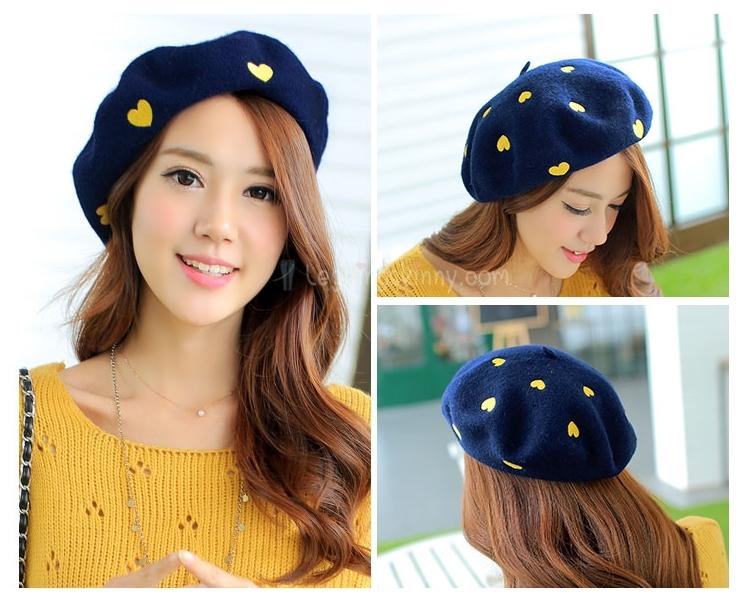 หมวกเบเร่ต์เกาหลี ผ้าขนสัตว์ ปักลายดอกไพ่ มี 4 สี