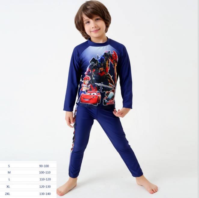 ชุดว่ายน้ำเด็ก ชุดเซ็ตเสื้อแขนยาว ลายฮีโร่+กางเกงขายาวสีน้ำเงิน