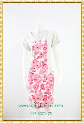 1960ชุดทํางาน เสื้อผ้าคนอ้วนคอกลมดอกตัดต่อพิ้นช่วงบ่าปรับสรีระให้บางและพรางรูปร่างเทรนด์คลาสสิคสีครีมมีซับใน
