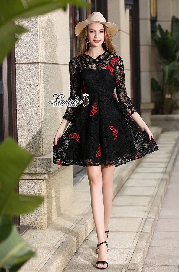 Korea Design By Lavida Butterfly embroidery floral lace wonderful dress