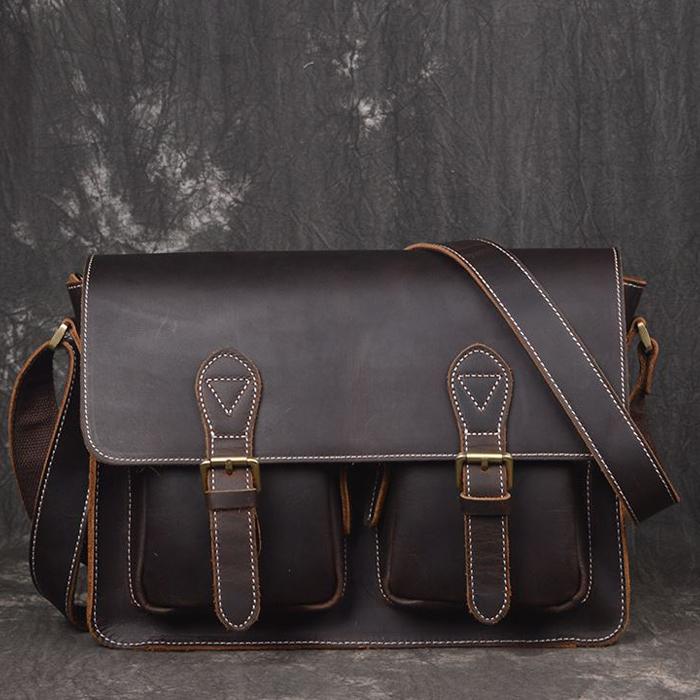 RV-1035 R กระเป๋าหนังแท้ สะพายข้าง หนังนูบัค สีน้ำตาลดำ