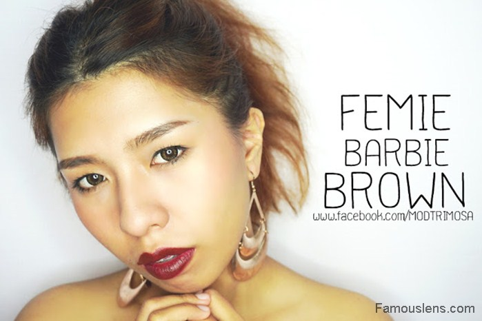 MODTRIMOSA บิวตี้บล็อกเกอร์ ใส่คอนแทคเลนส์สีน้ำตาลธรรมชาติ ขนาดพอดีตา รุ่น Femie Brown Famouslens.com