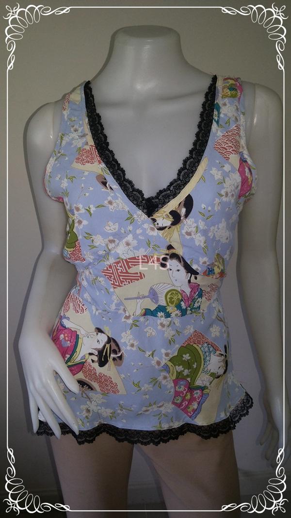 jp3579-เสื้อแฟชั่น สีฟ้าลาย นำเข้า LueyLove made in usa อก 34-36 นิ้ว