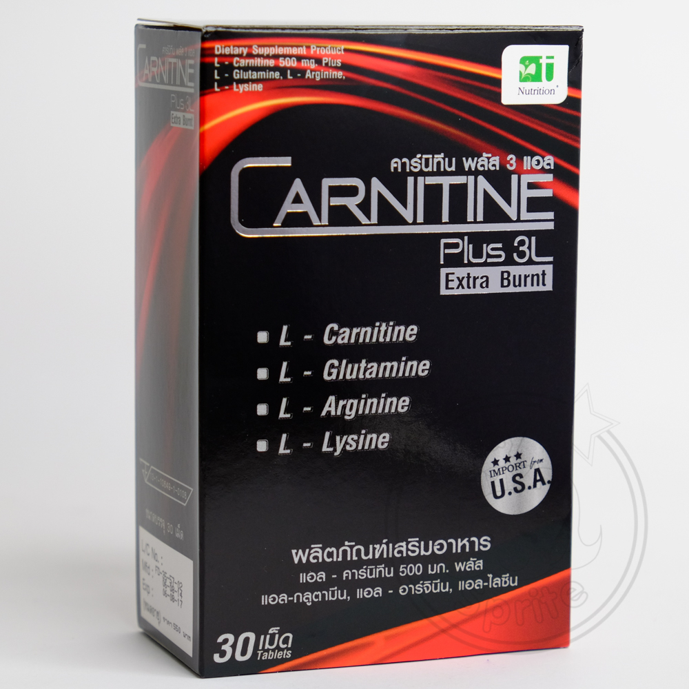 CARNITINE Plus 3L Extra Burnt คาร์นิทีน พลัส 3 แอล 30เม็ด ลดน้ำหนัก ควบคุมน้ำหนัก ช่วยเผาผลาญไขมันส่วนเกิน