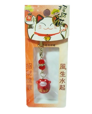 ที่ห้อยมือถือ Lucky Neko (Red) เป็นเครื่องรางเพื่อให้คุณโชคดีค่ะ