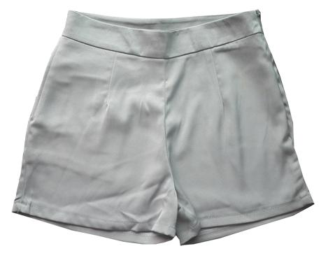 กางเกงขาสั้นเอวสูงผ้าฮานาโกะ สีเทา กระเป๋าขวา ซิปซ้าย Size 2XL 3XL