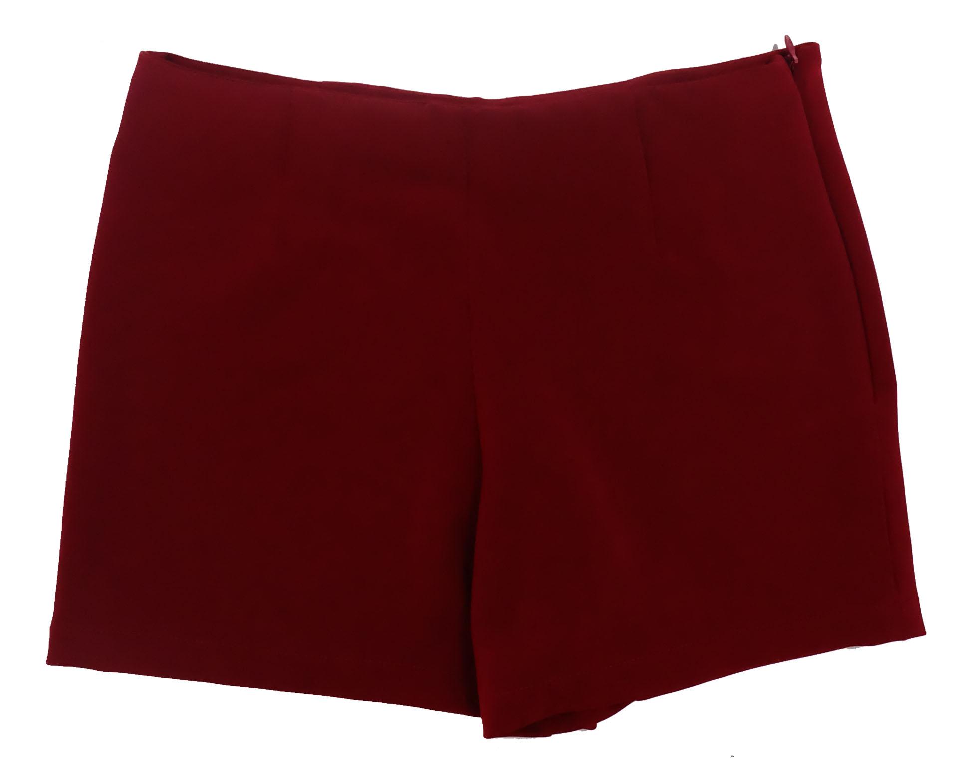 กางเกงขาสั้นเอวสูงขอบเรียบผ้าฮานาโกะ ซิปซ้าย กระเป๋าขวา สีเลือดหมู Size 2XL 3XL