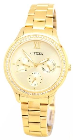 นาฬิกาผู้หญิง Citizen รุ่น ED8152-58P, Swarovski Gold Stainless Steel Analog Dress Watch