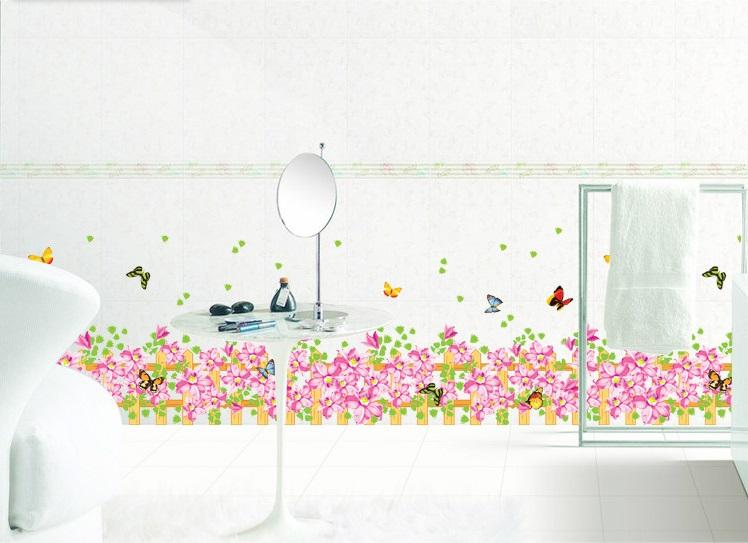 สติ๊กเกอร์สวนดอกไม้+ผีเสื้อ