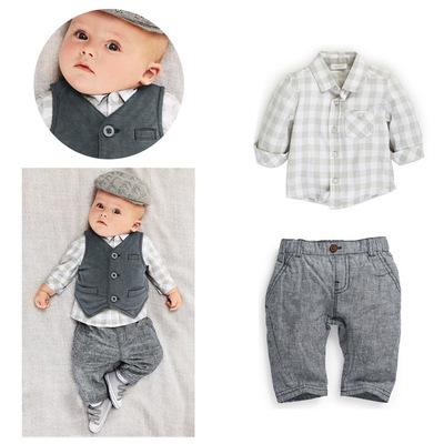 ID378- เสื้อ+กางเกง+เสื้อกั๊ก 3 ชุด /แพค ไซส์ 80-100