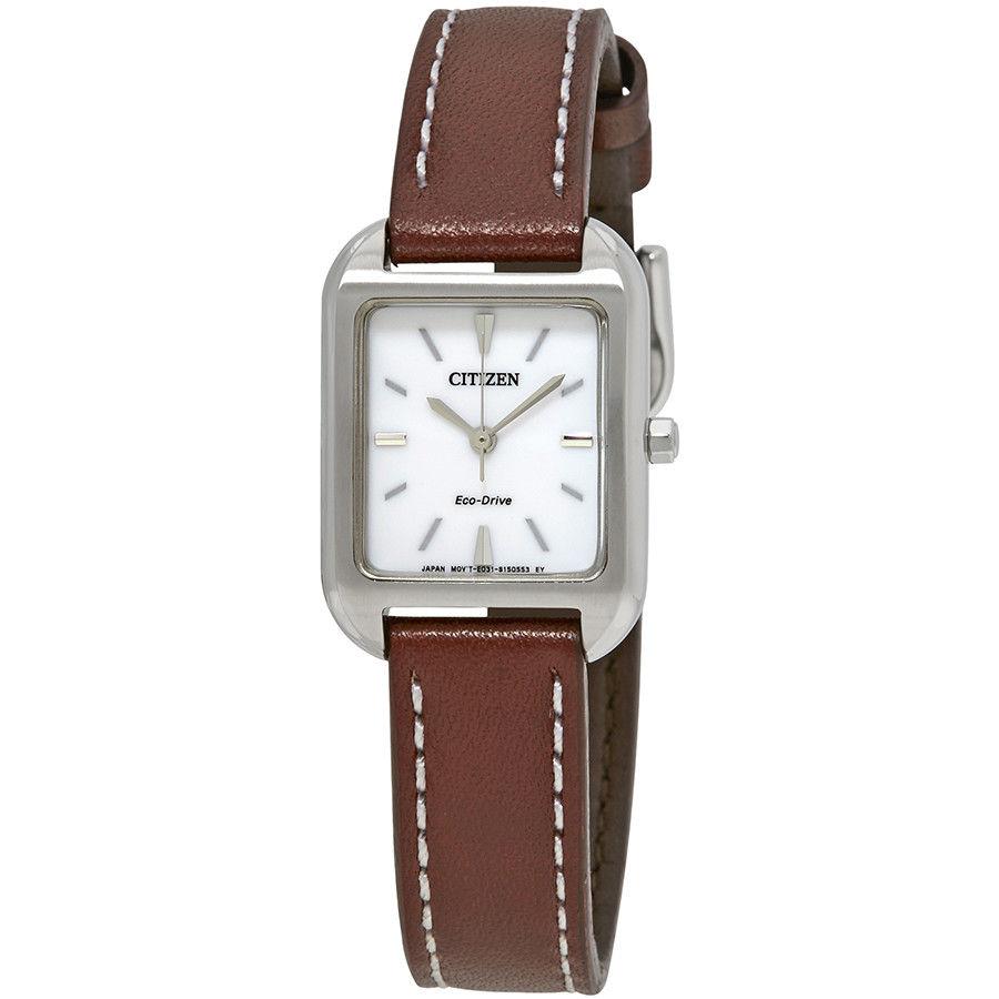 นาฬิกาผู้หญิง Citizen Eco-Drive รุ่น EM0490-08A, Silhouette White Dial Women's Watch