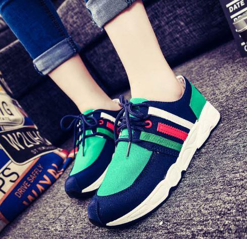รองเท้าผ้าใบเกาหลีพื้นหนามีแทบสีด้านข้าง