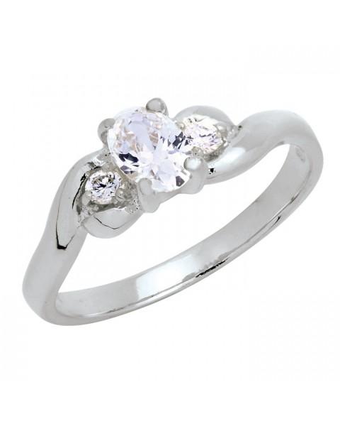 แหวนประดับเพชรฝังหนามเตย 3 เม็ด หุ้มทองคำขาวแท้