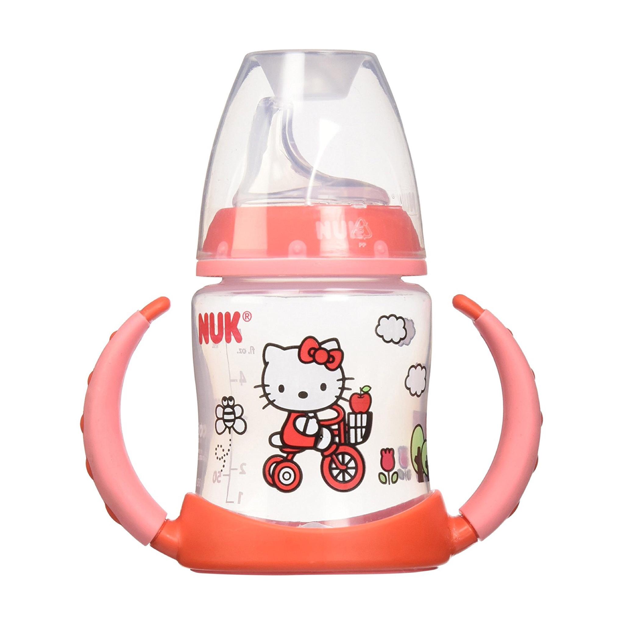 ถ้วยหัดดื่มปลอดสารพิษ Nuk 5-oz Learner Cup, Silicone Spout, BPA Free (Hello Kitty (Red))