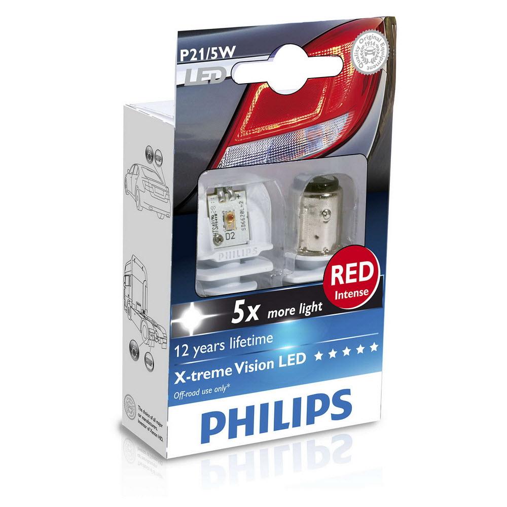 P21/5W Philips X-treme Vision LED RED ส่งฟรี EMS