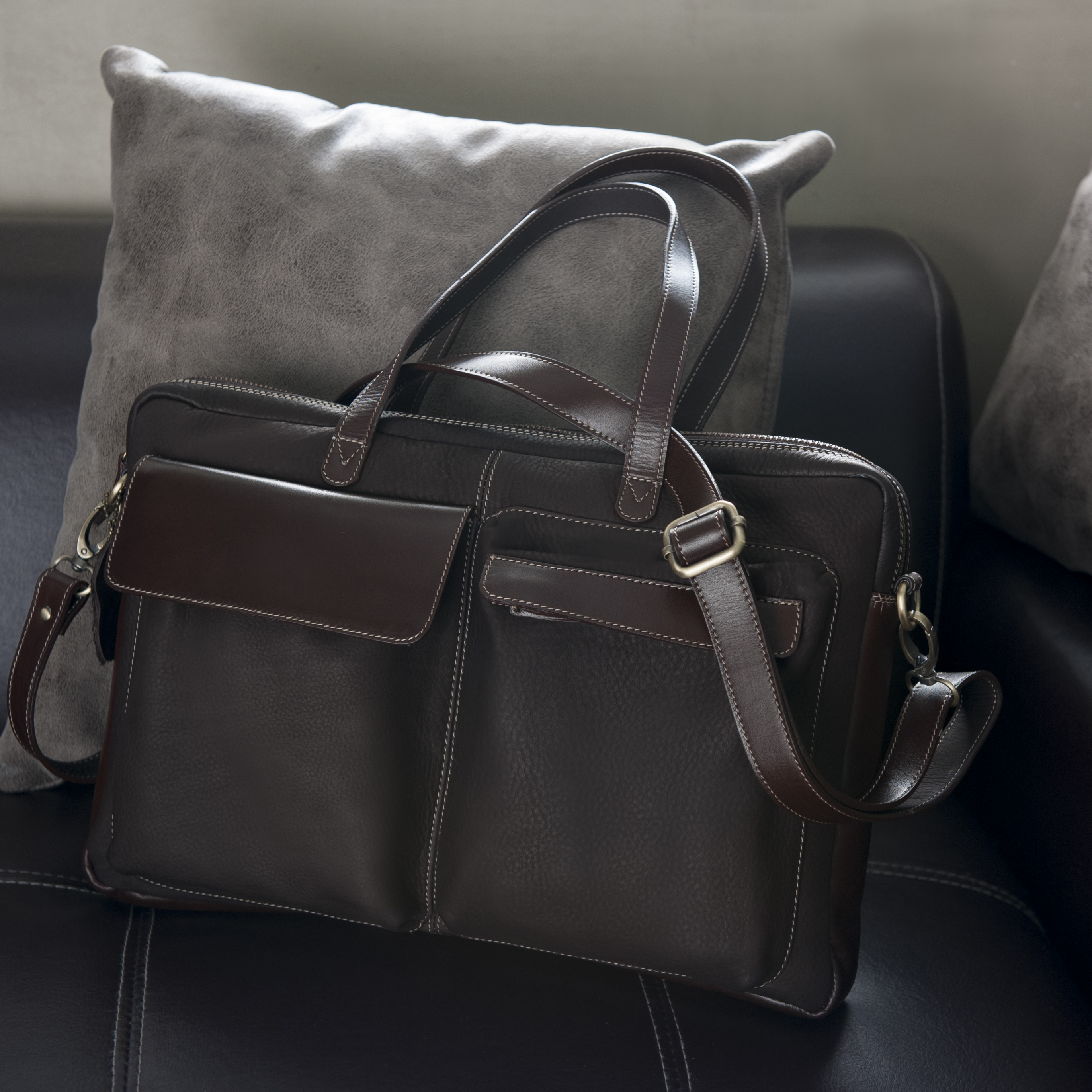 SL158 กระเป๋าสะพายหนังแท้ใส่เอกสาร แล็ปท็อป พร้อมซิปด้านบน