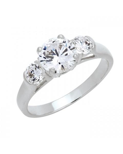 แหวนประดับเพชรฝังหนามเตยและฝังหุ้ม ชุบทองคำขาวแท้