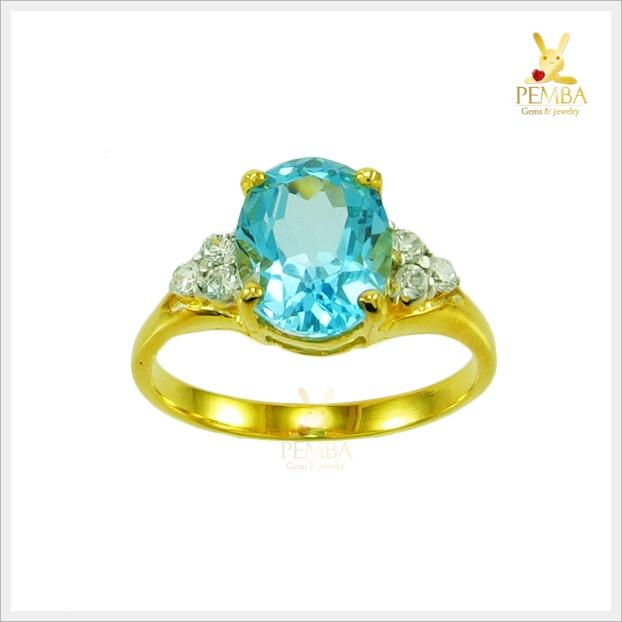 แหวนสวิสบลูโทแพซแท้ เงินแท้ ชุบทอง สวยเก๋น่ารักๆ