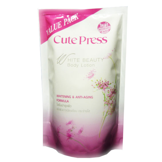คิวเพรส บอดี้ โลชั่น สูตรไวท์เทนนิ่ง แอนด์ แอนตี้-เอจจิ้ง Cutepress body lotion whitening anti ageing Refil