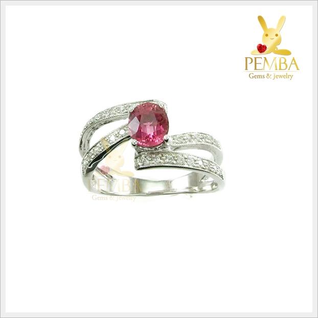 แหวนพิงค์ทัวร์มาลีนแท้ เงินแท้ ชุบทองคำขาว