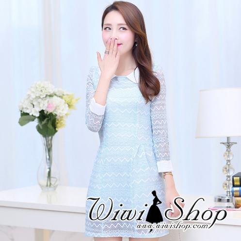 ชุดเดรสสีฟ้า ผ้าลูกไม้ คอปก แขนยาว แนว สวยหวาน น่ารักๆ ดูดี