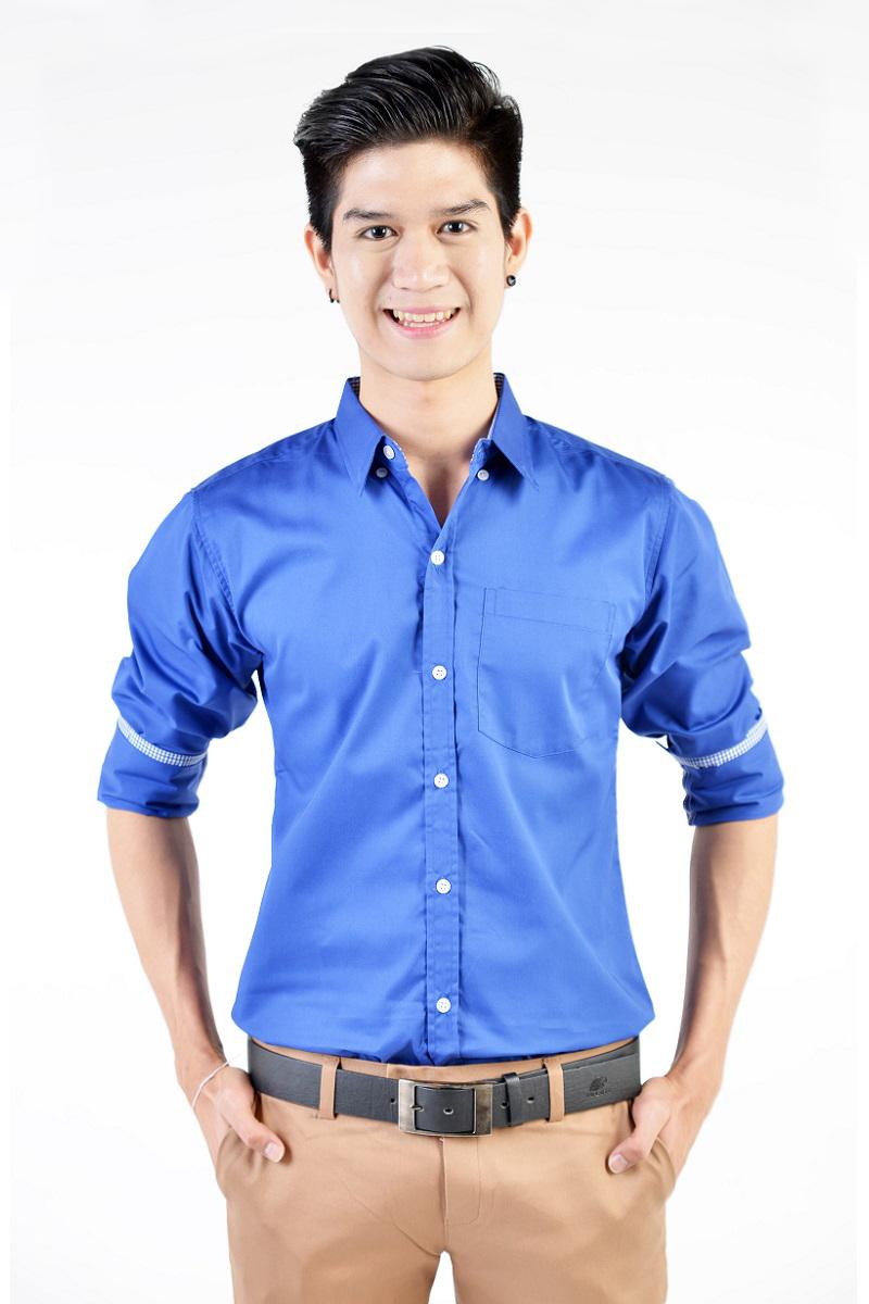 เสื้อเชิ้ตผู้ชายสีน้ำเงิน ผ้าคอตตอน