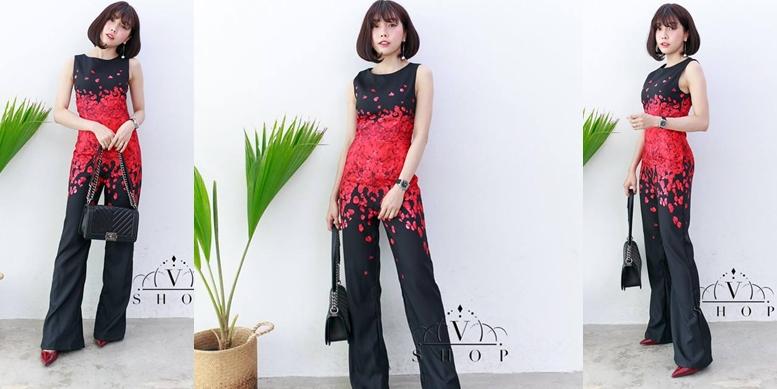 เดรสกางเกงสีดำ ลายกลีบดอกกุหลาบแดง แฟชั่นชุดออกงานลุคสาวมั่น สวยเท่ห์ ดูดี
